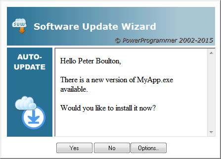 A message box advising the user of the update